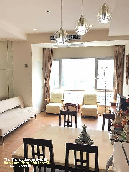 Rent คอนโดให้เช่า The Trendy Condominium sukhumvit 13 1bed 2baths 71sqm.,15th floor