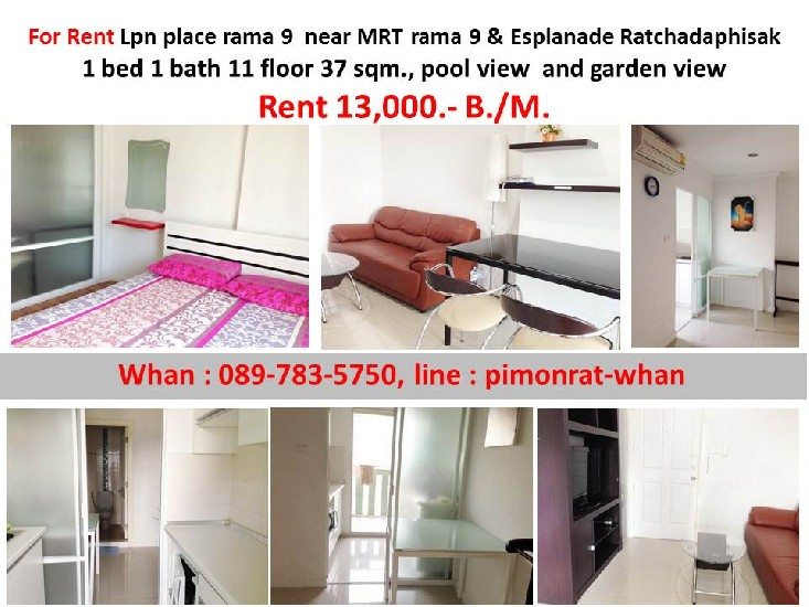 For Rent Lpn place rama 9  near MRT rama 9 & Esplanade Ratchadaphisak