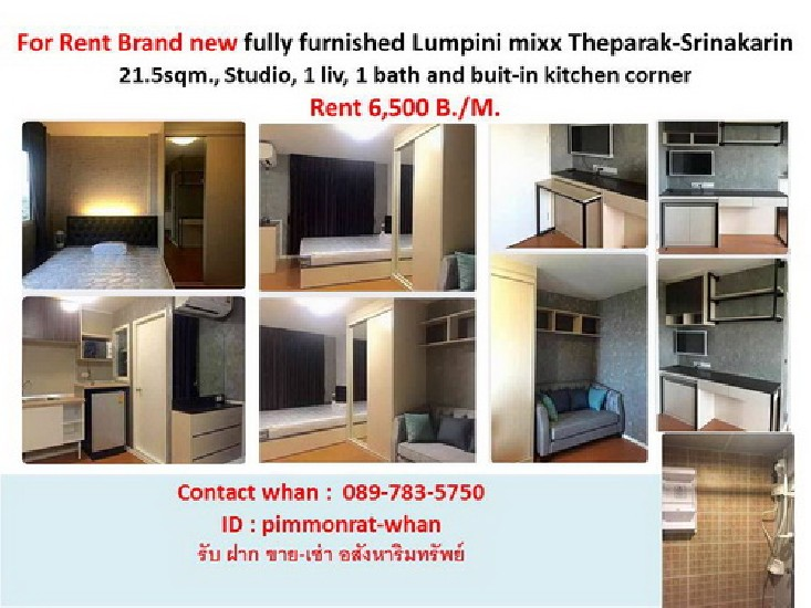 Brand new fully furnished Lumpini mixx  Theparak-Srinakarin Condo for Rent